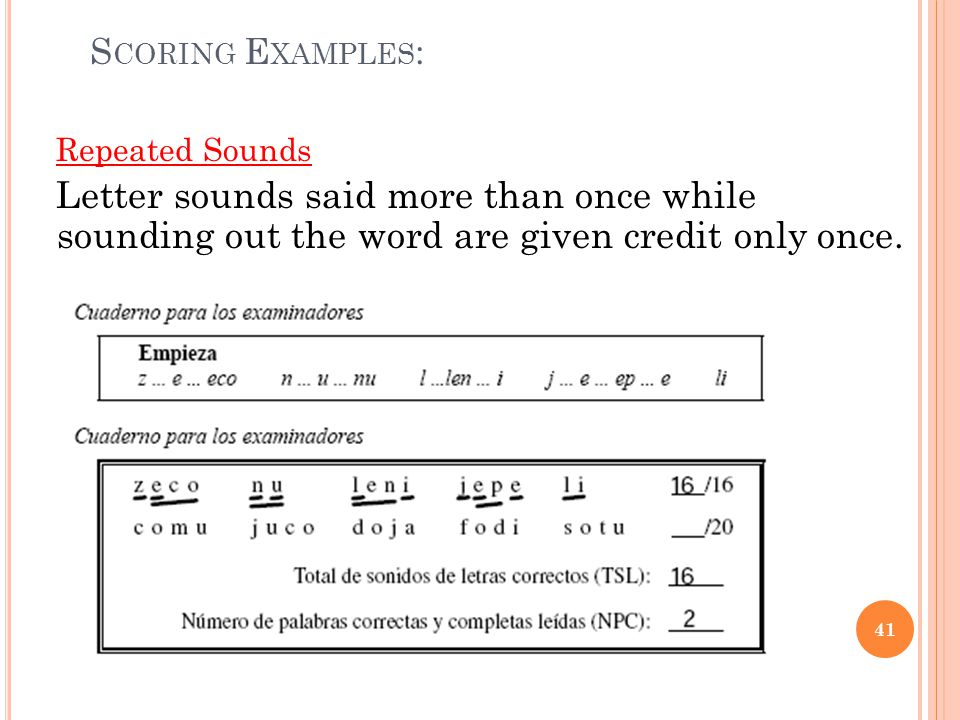 Scoring Examples: Repeated Sounds. Letter sounds said more than once while sounding out the word are given credit only once.