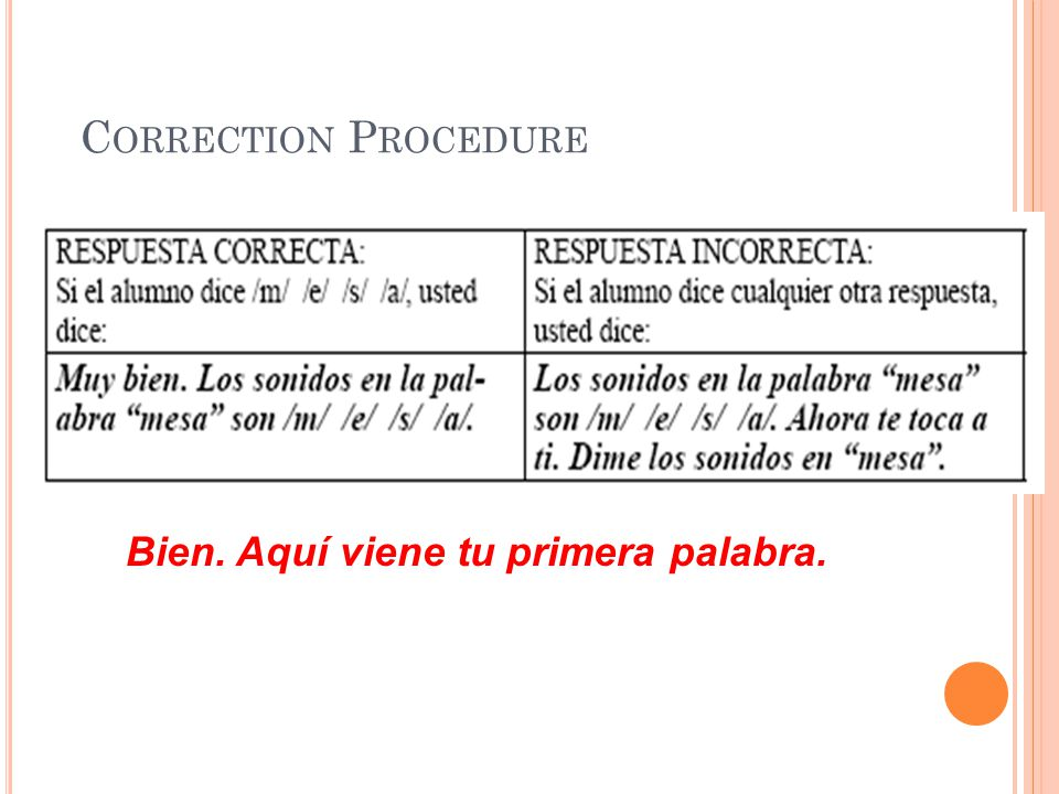 Correction Procedure Bien. Aquí viene tu primera palabra.