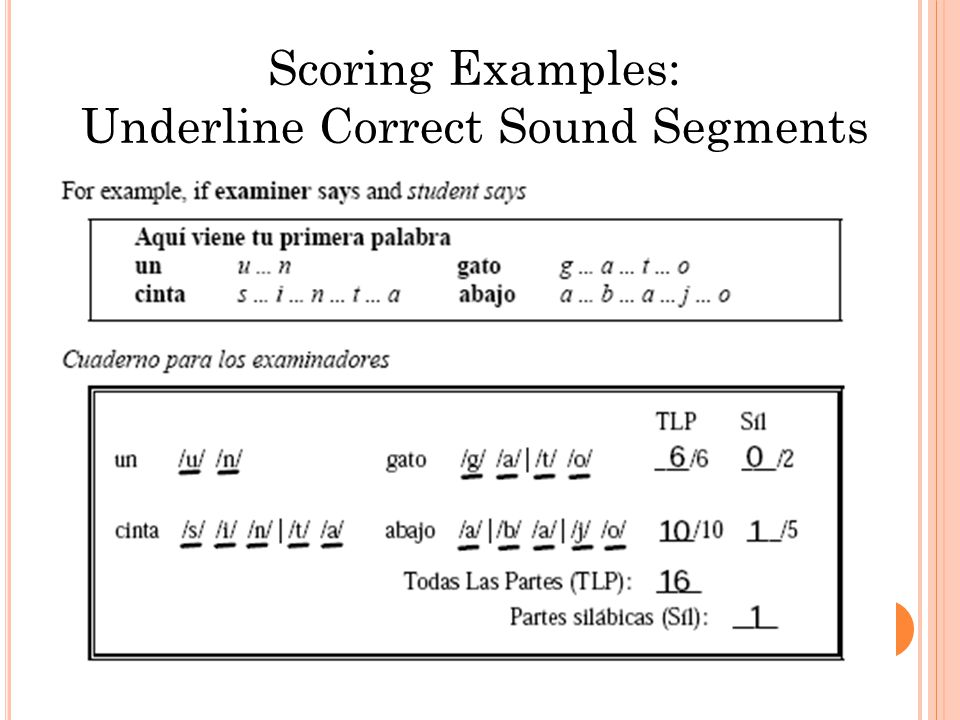 Scoring Examples: Underline Correct Sound Segments