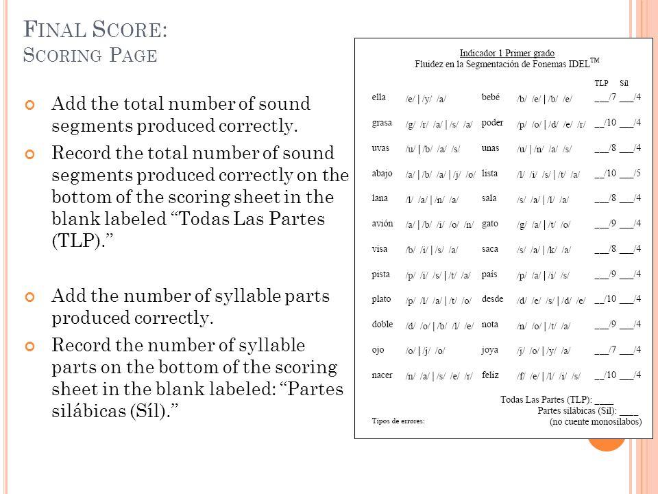 Final Score: Scoring Page