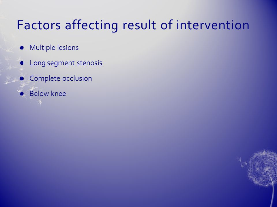 Factors affecting result of intervention