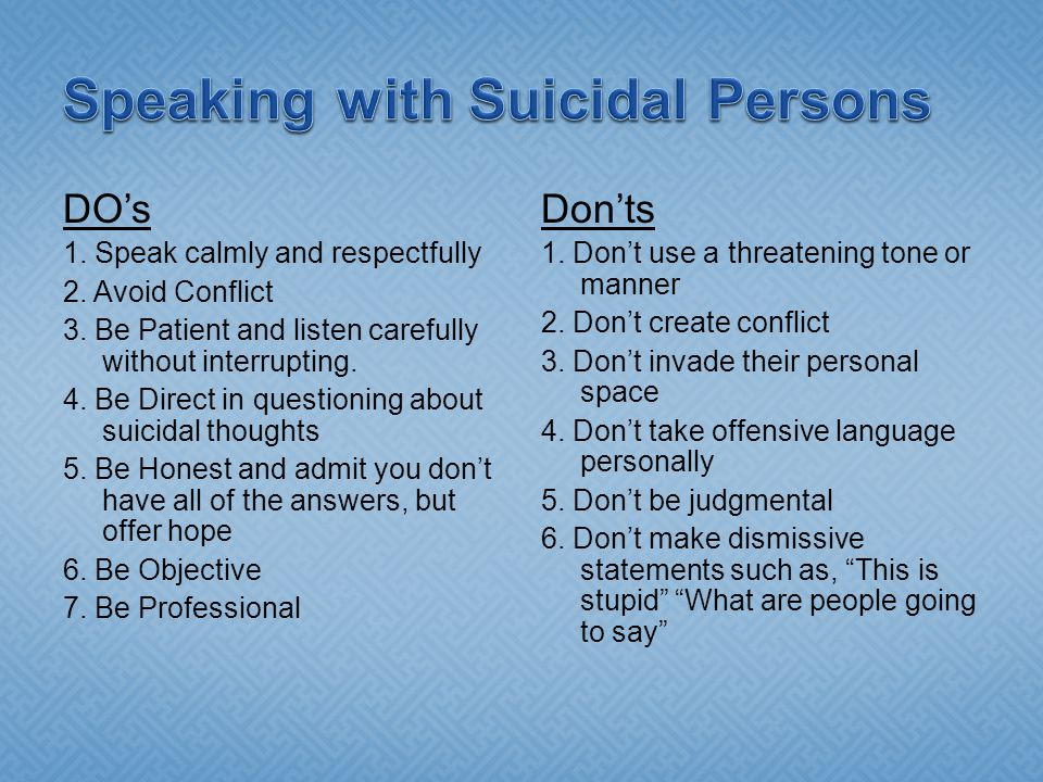 Speaking with Suicidal Persons