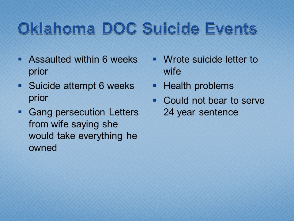 Oklahoma DOC Suicide Events