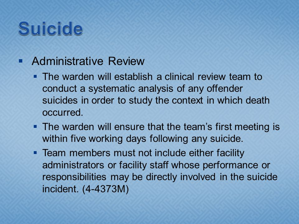 Suicide Administrative Review