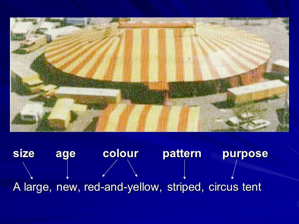 size age colour pattern purpose