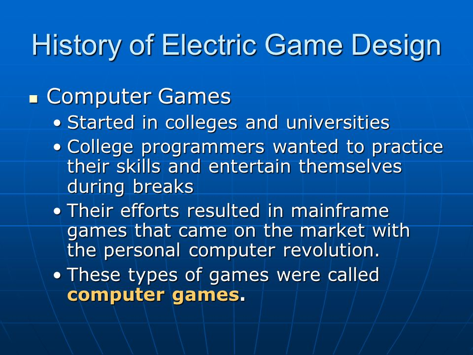 History of Electric Game Design