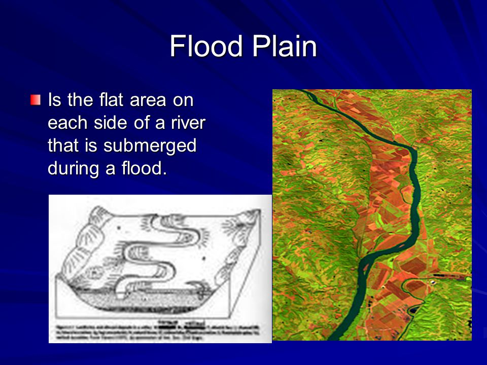 Flood Plain Is the flat area on each side of a river that is submerged during a flood.