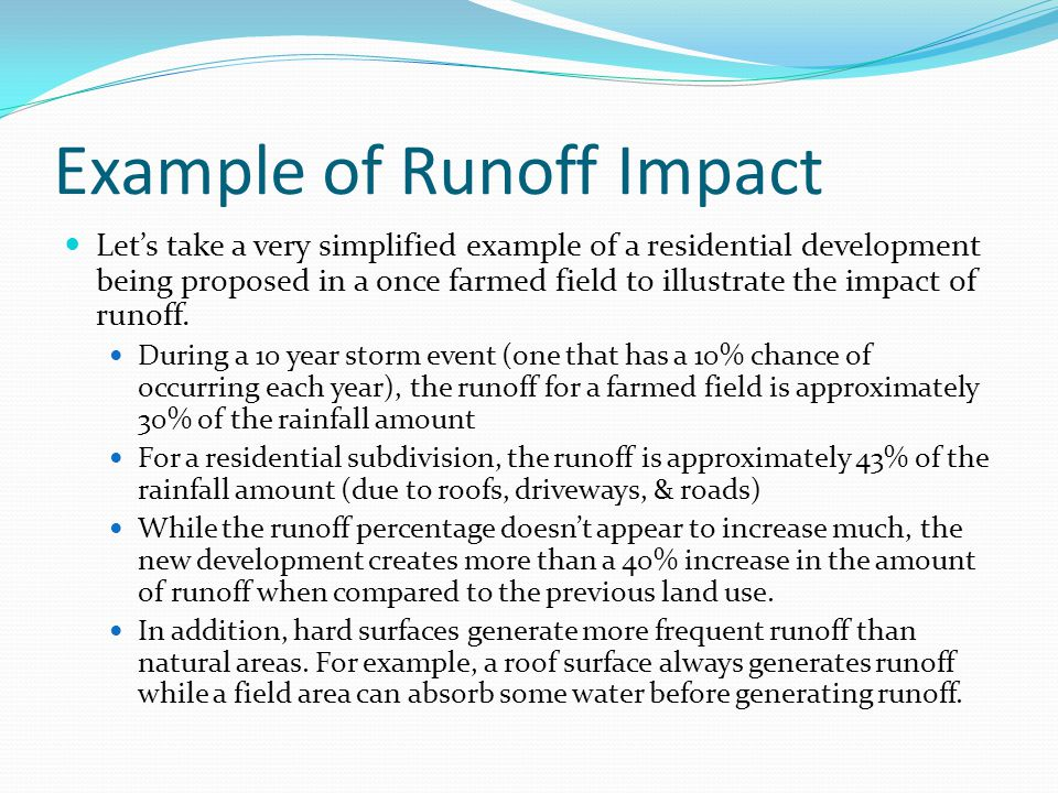 Example of Runoff Impact