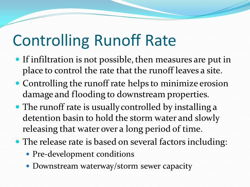 Controlling Runoff Rate