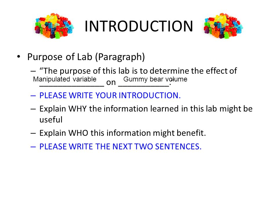 INTRODUCTION Purpose of Lab (Paragraph)