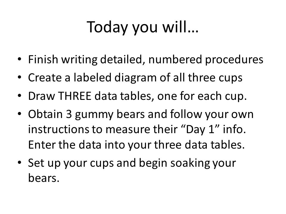 Today you will… Finish writing detailed, numbered procedures
