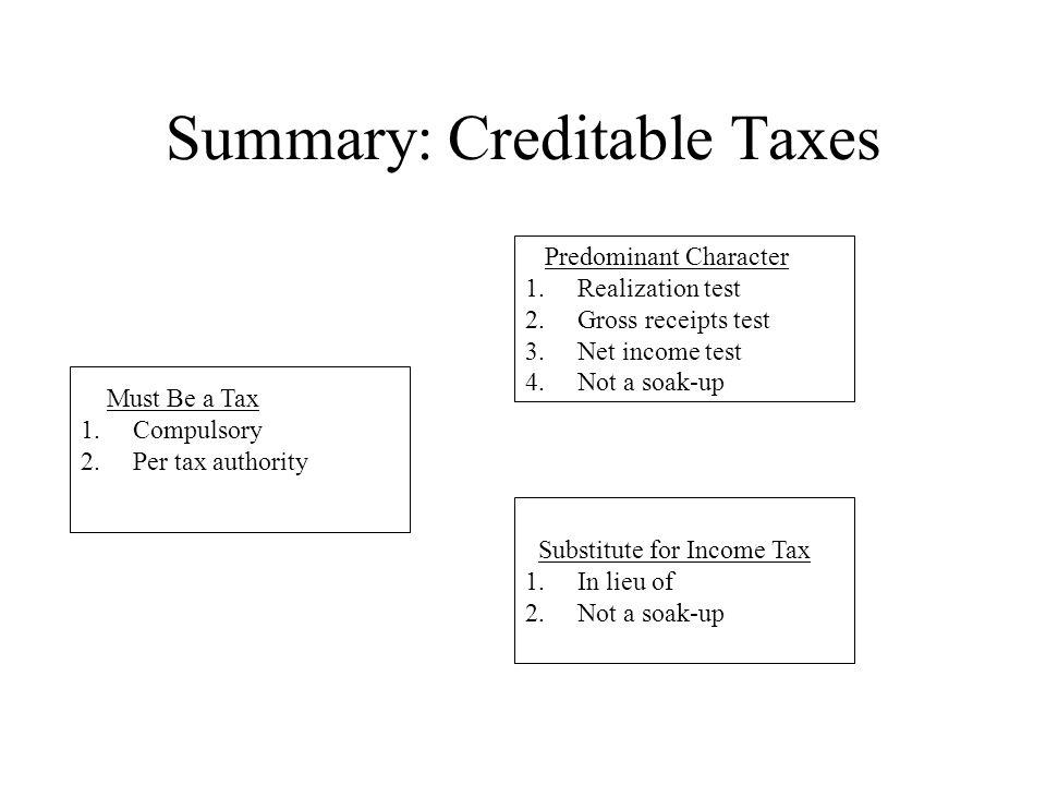 Summary: Creditable Taxes