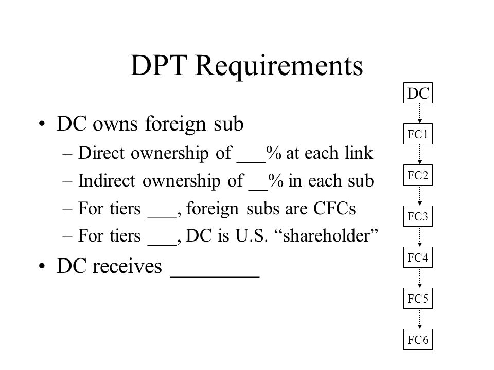 DPT Requirements DC owns foreign sub DC receives ________