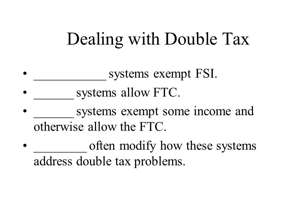 Dealing with Double Tax