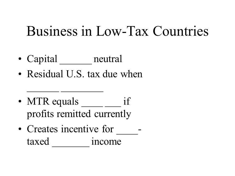 Business in Low-Tax Countries