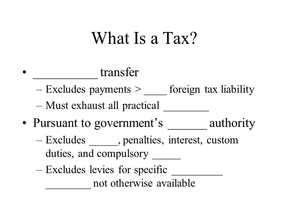 What Is a Tax __________ transfer