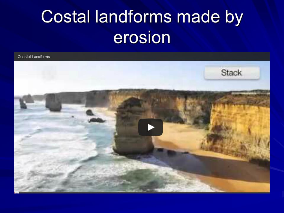 Costal landforms made by erosion