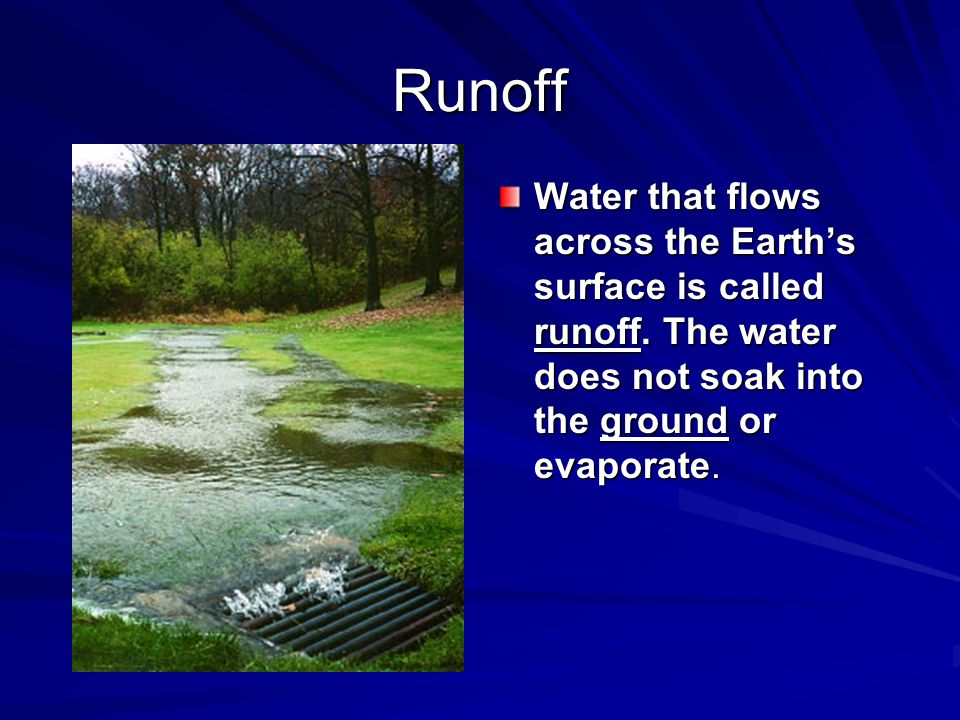 Runoff Water that flows across the Earth's surface is called runoff.