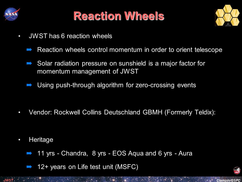 Reaction Wheels JWST has 6 reaction wheels