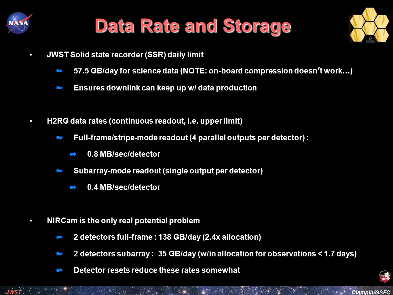 Data Rate and Storage JWST Solid state recorder (SSR) daily limit