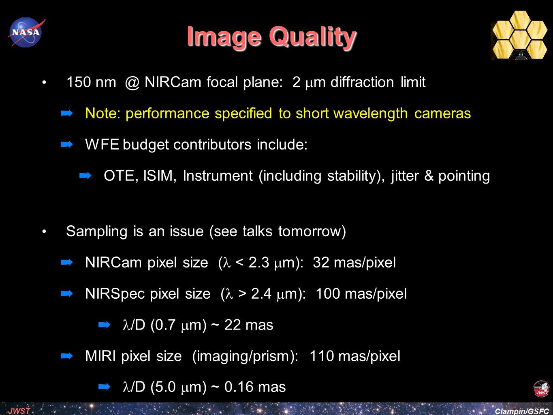 Image Quality 150 nm @ NIRCam focal plane: 2 mm diffraction limit