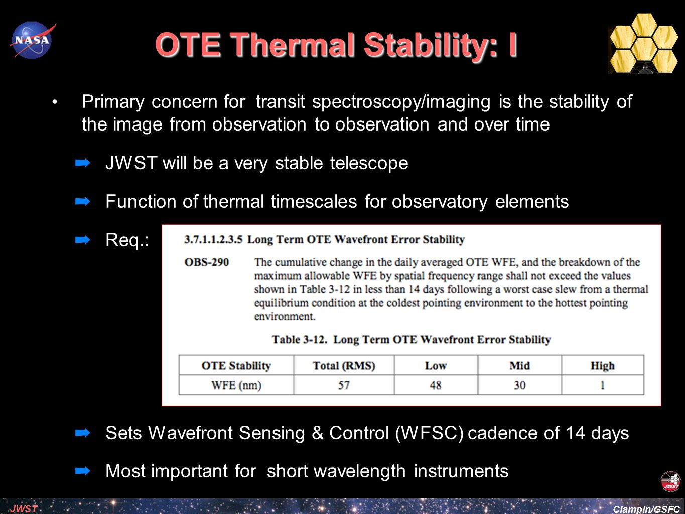OTE Thermal Stability: I