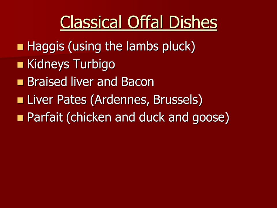 Classical Offal Dishes