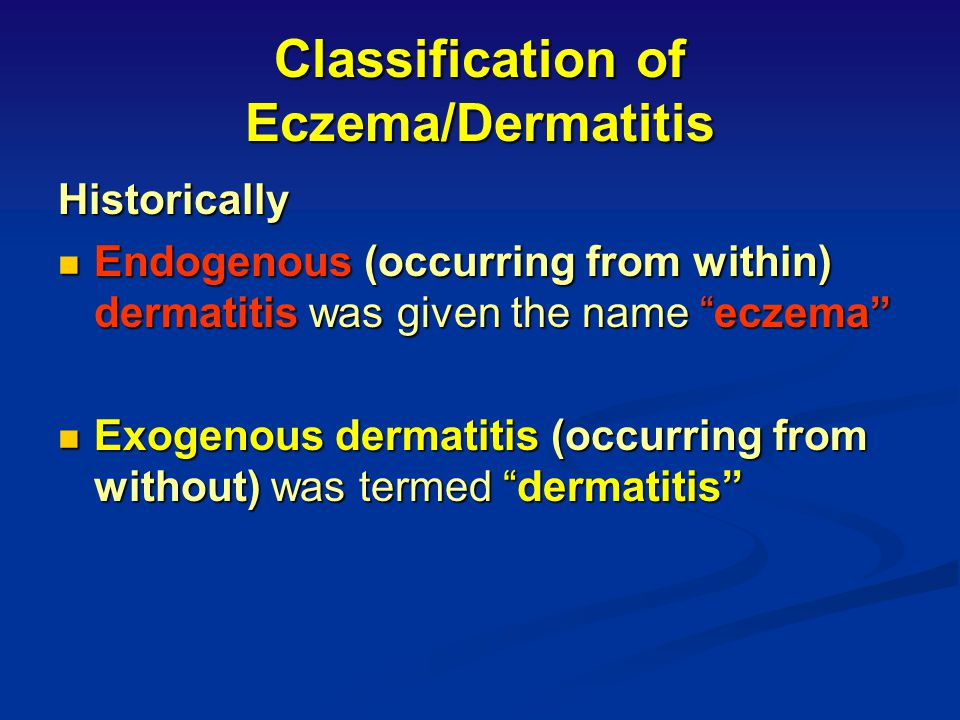 Classification of Eczema/Dermatitis