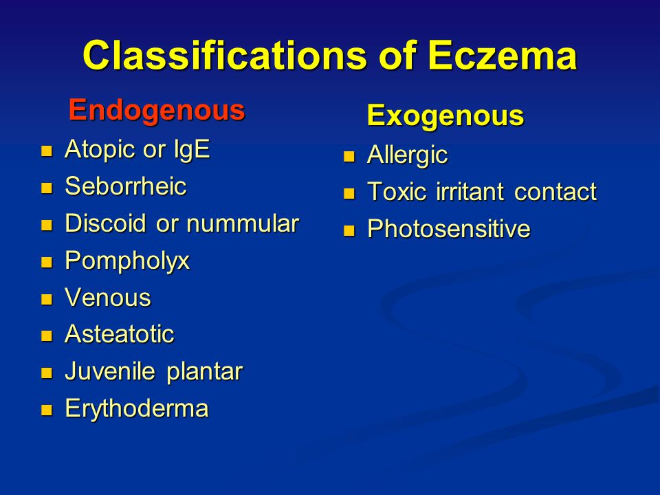 Classifications of Eczema