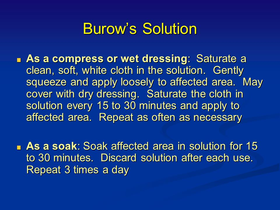 Burow's Solution