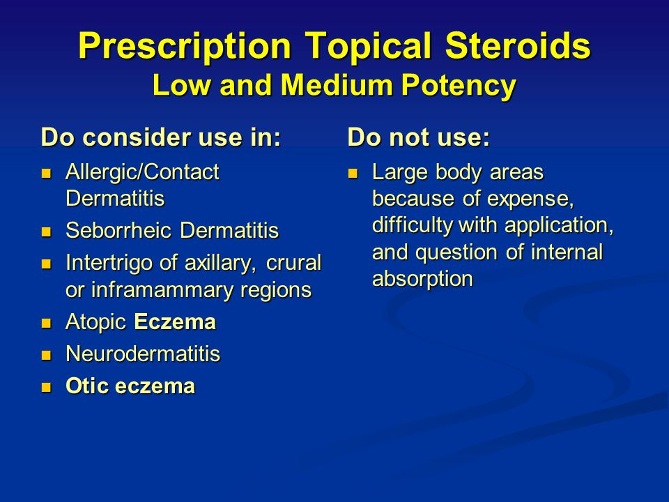 Prescription Topical Steroids Low and Medium Potency