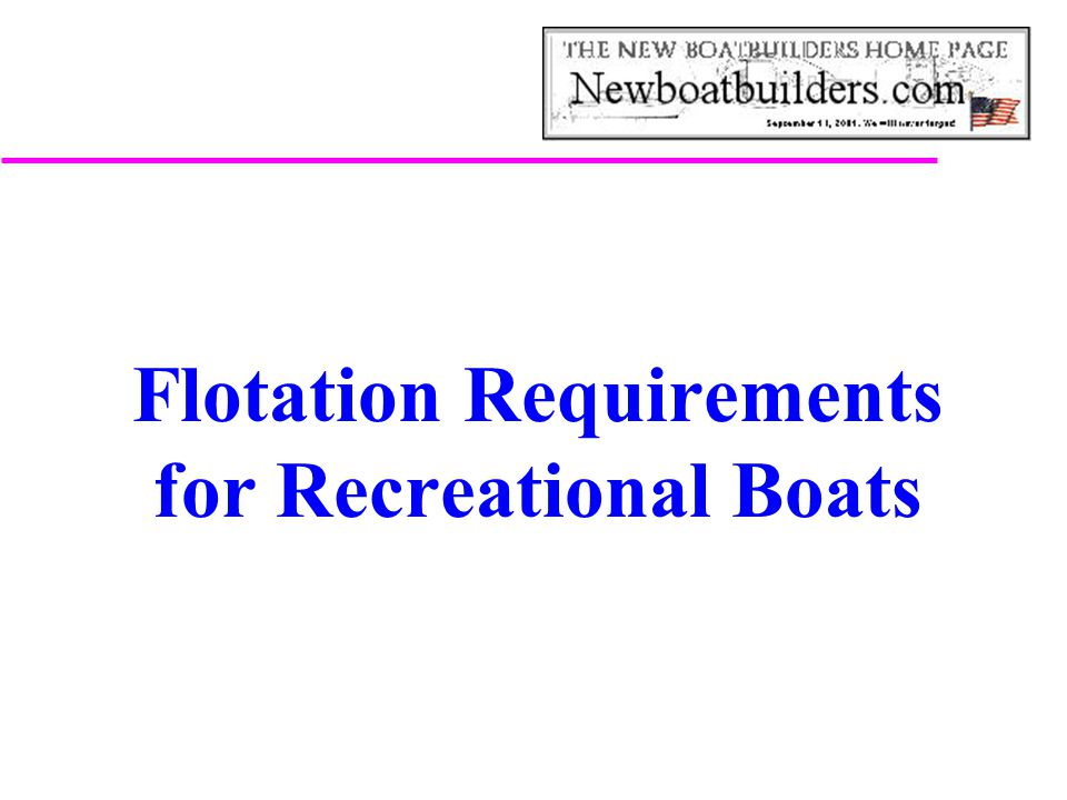 Flotation Requirements for Recreational Boats