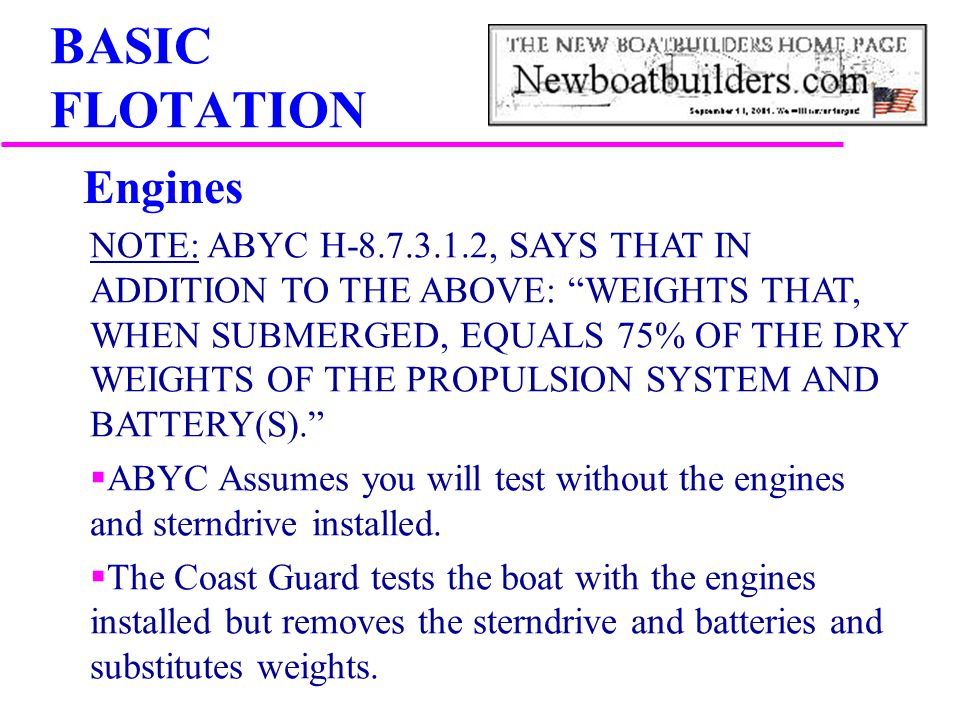 BASIC FLOTATION Engines