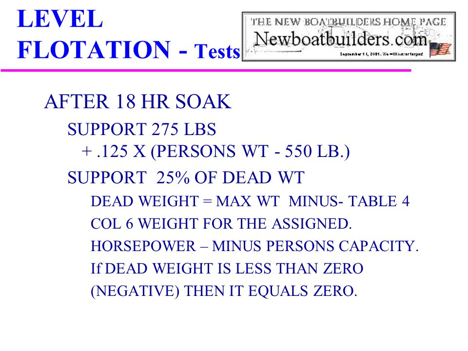 LEVEL FLOTATION - Tests