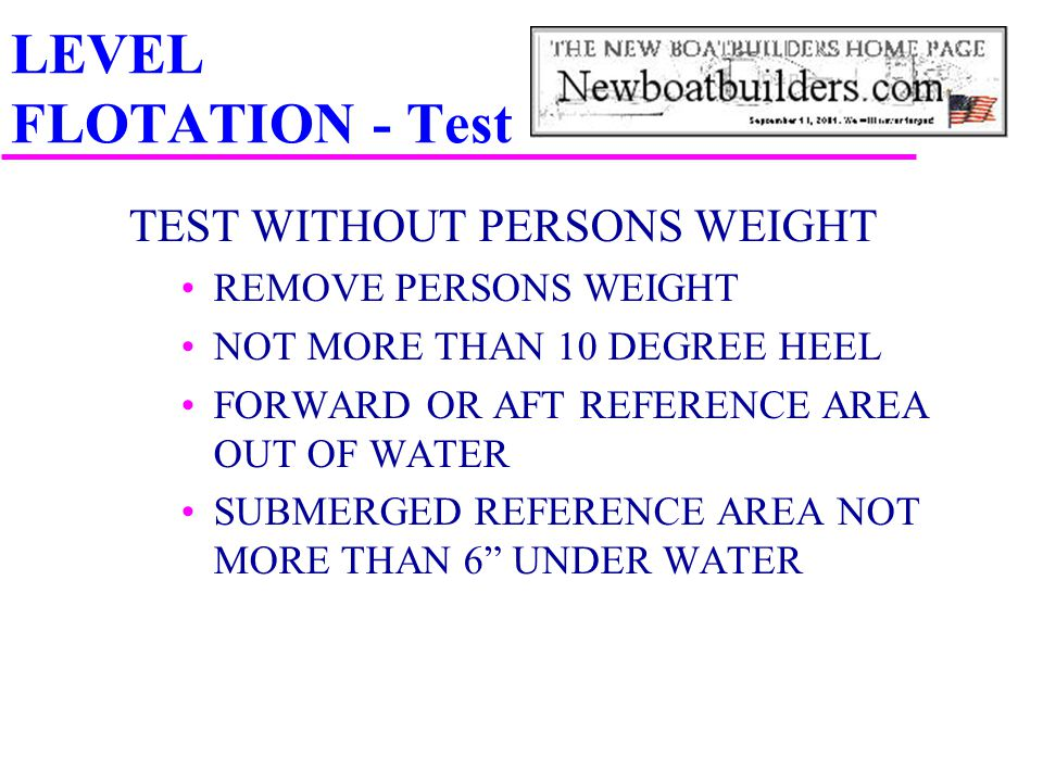 LEVEL FLOTATION - Test TEST WITHOUT PERSONS WEIGHT