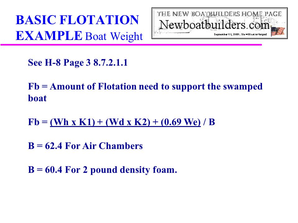 BASIC FLOTATION EXAMPLE Boat Weight