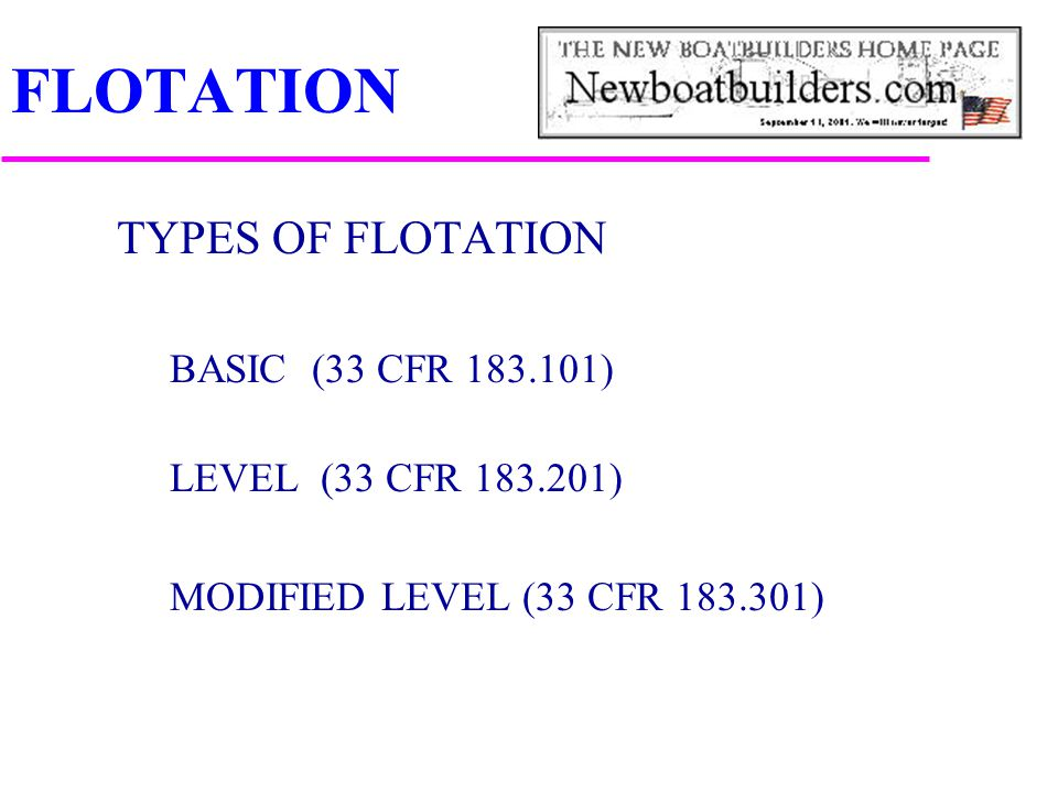 FLOTATION TYPES OF FLOTATION BASIC (33 CFR )