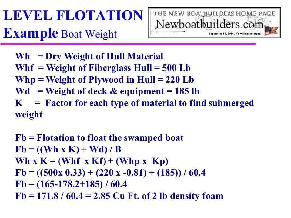 LEVEL FLOTATION Example Boat Weight