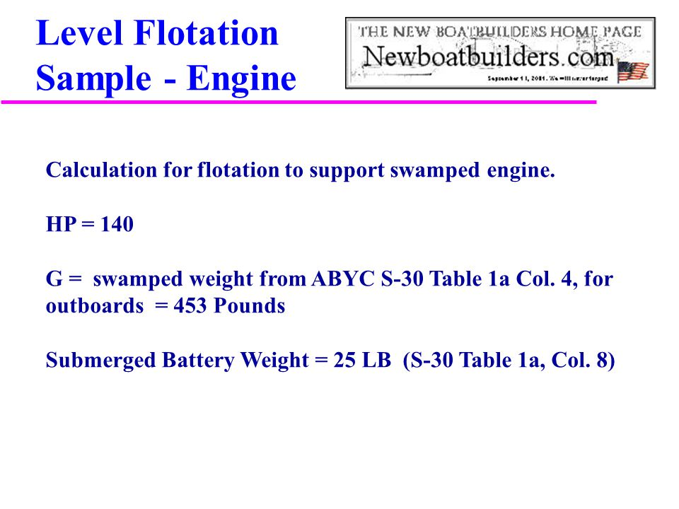 Level Flotation Sample - Engine