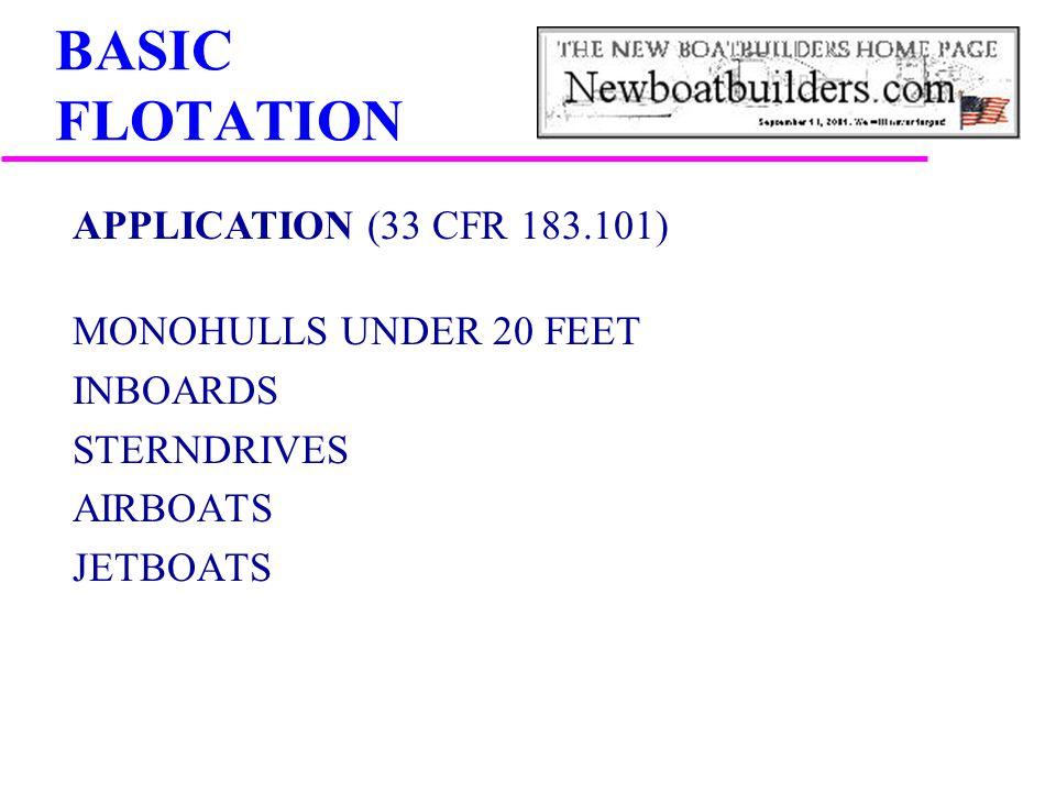 BASIC FLOTATION APPLICATION (33 CFR 183.101) MONOHULLS UNDER 20 FEET