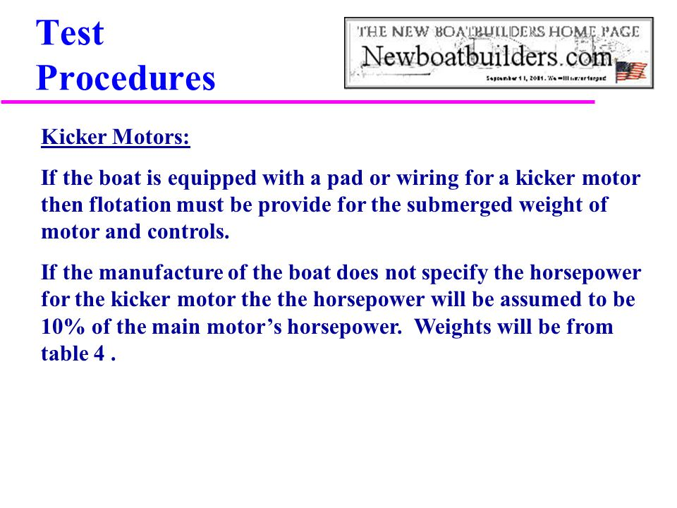 Test Procedures Kicker Motors: