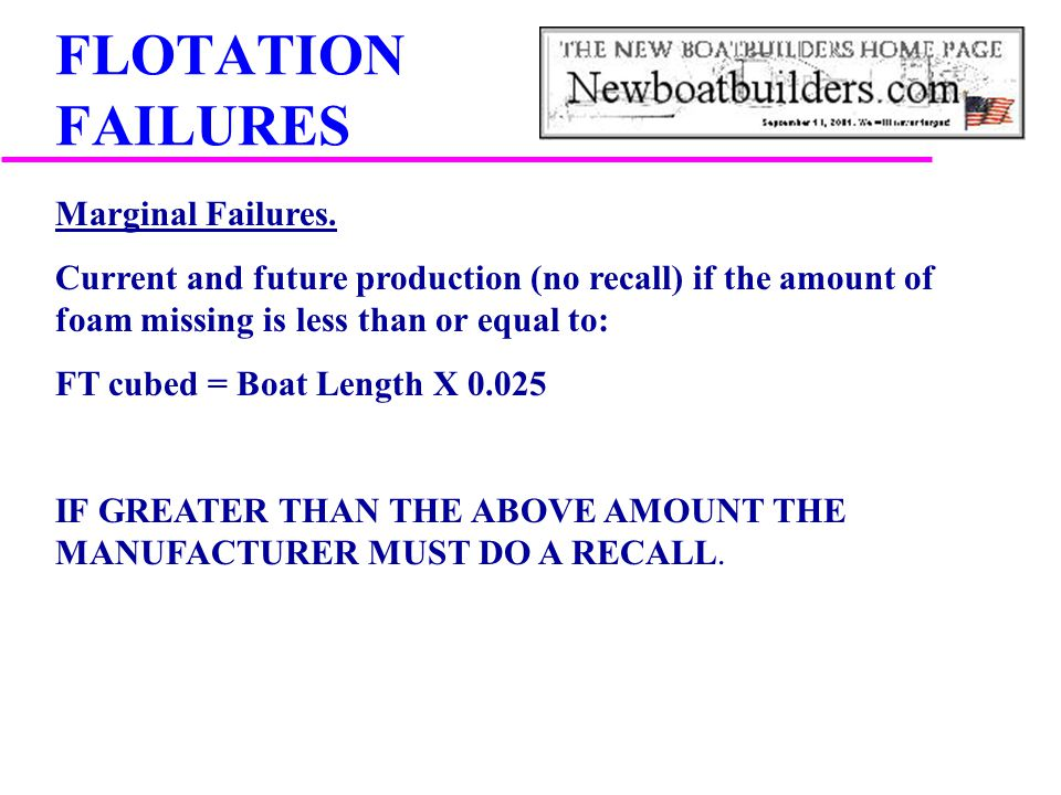 FLOTATION FAILURES Marginal Failures.