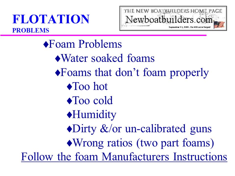 FLOTATION PROBLEMS Foam Problems Water soaked foams