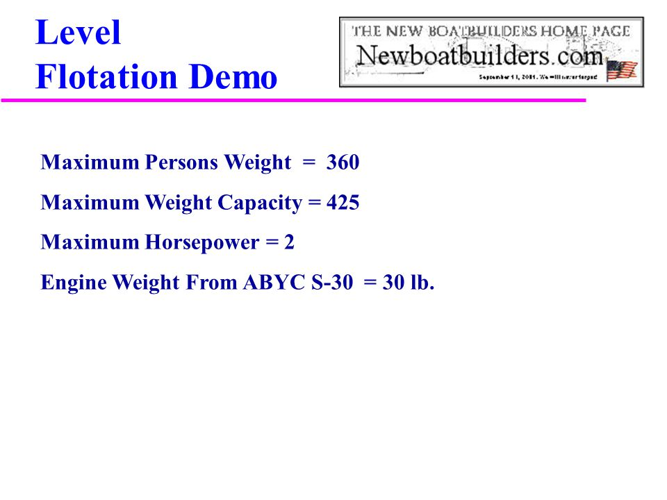 Level Flotation Demo Maximum Persons Weight = 360