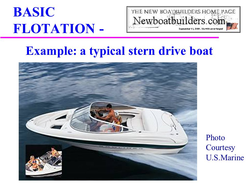 Example: a typical stern drive boat