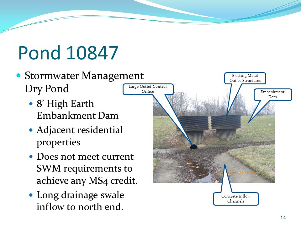 Pond 10847 Stormwater Management Dry Pond 8' High Earth Embankment Dam