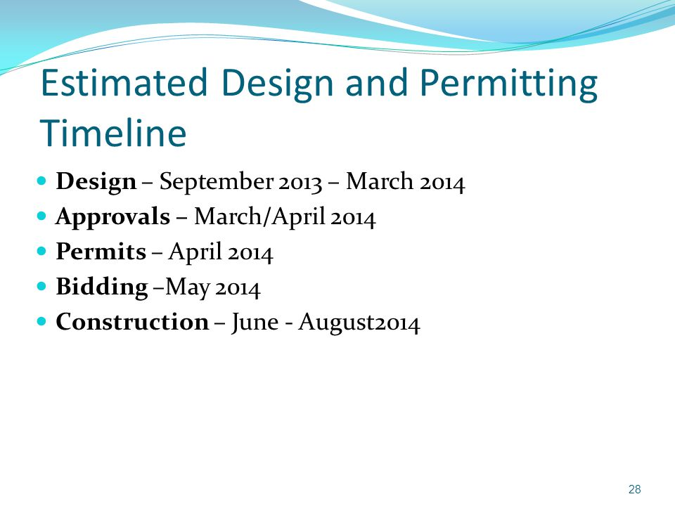 Estimated Design and Permitting Timeline