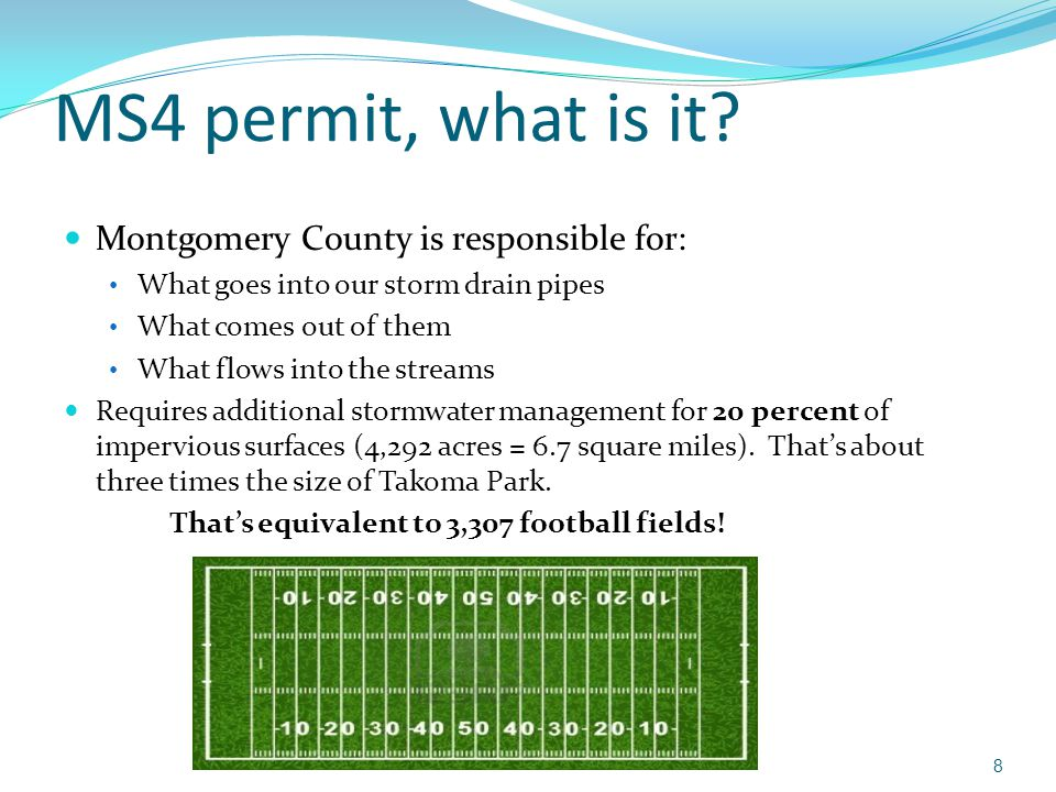 MS4 permit, what is it Montgomery County is responsible for: