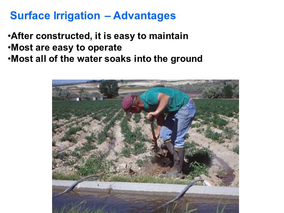 Surface Irrigation – Advantages