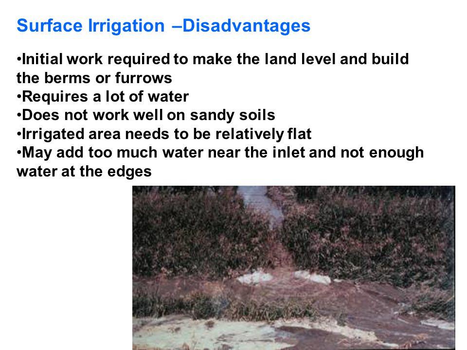 Surface Irrigation –Disadvantages